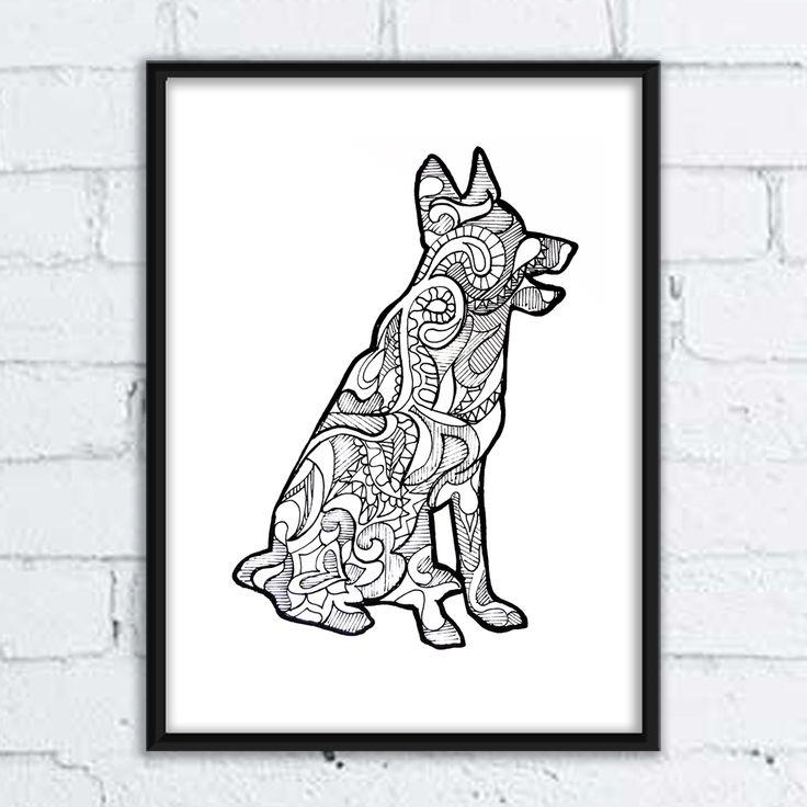 #dog #pies #grafika #buldog #rysunek #ilistracja #illustration #mandala #wzory #pozytywne #wnętrza #owczarek #niemiecki