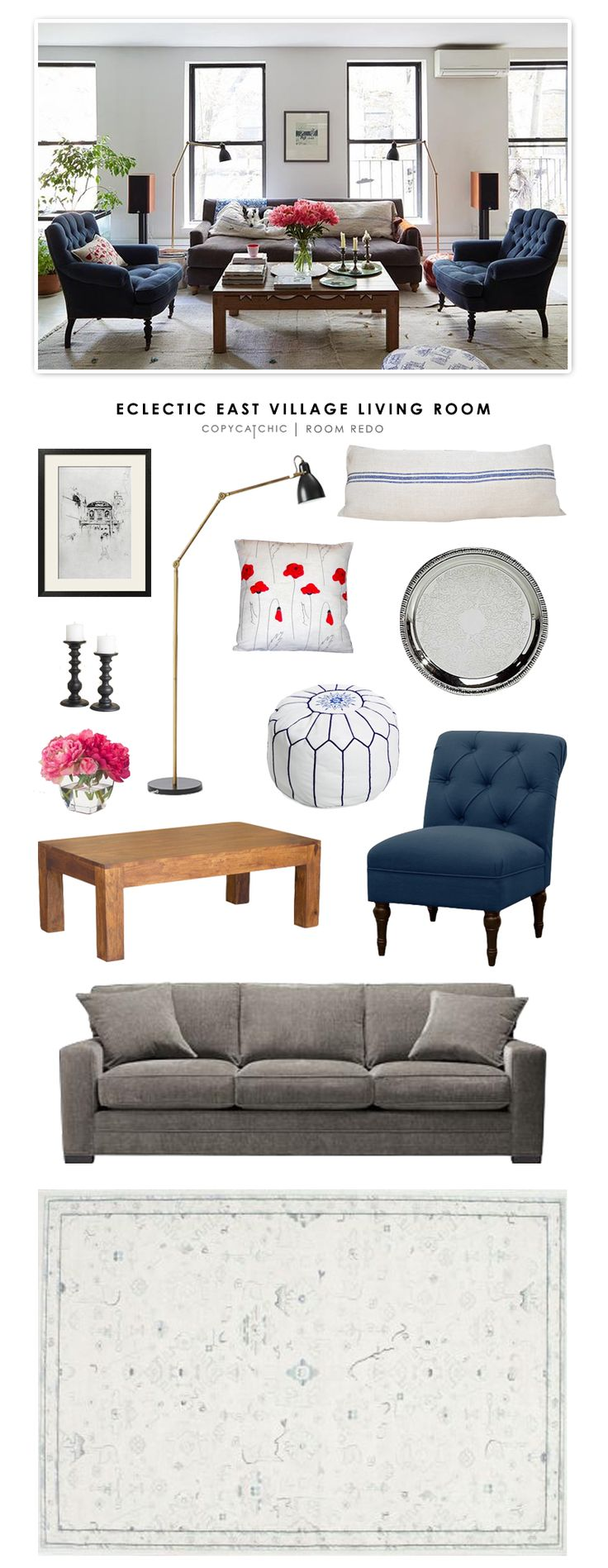 Copy Cat Chic: Copy Cat Chic Room Redo | Eclectic East Village Living Room by @audreycdyer