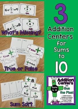 Low prep centers to practice sums to 10!  Included are What's Missing - determine the missing addend in a fact, True or False - sorting the facts and Sum Sort - sort facts by the proper sum.