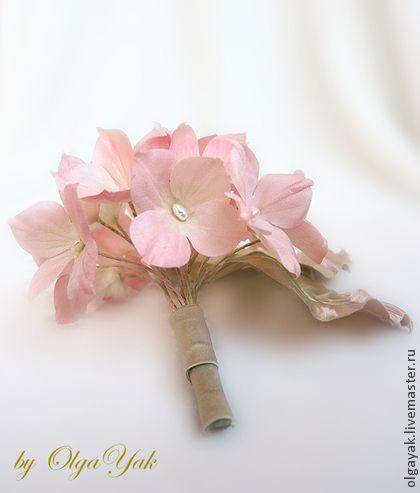 Цветы из ткани. Гортензия. - цветы из шелка,цветок из ткани,брошь,гортензия