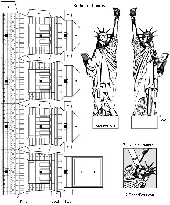 Statue of Liberty - Paper Cutouts by PaperToys.com
