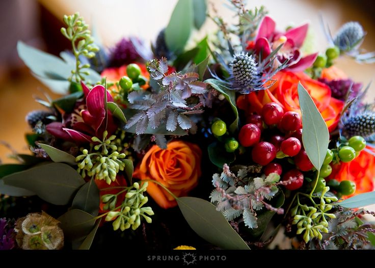 A close-up of a colorful Autumn bridal bouquet from Avant Gardenia