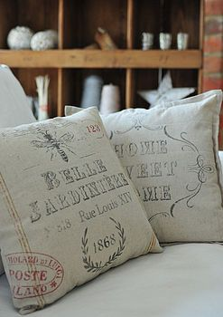 Love vintage pillows http://www.notonthehighstreet.com/retrophenia/product/vintage-inspired-home-sweet-home-cushion