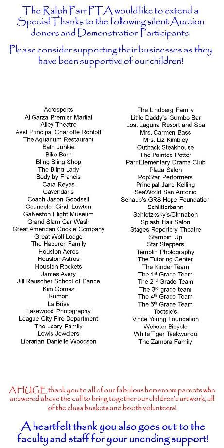 2012 Silent Auction Donors