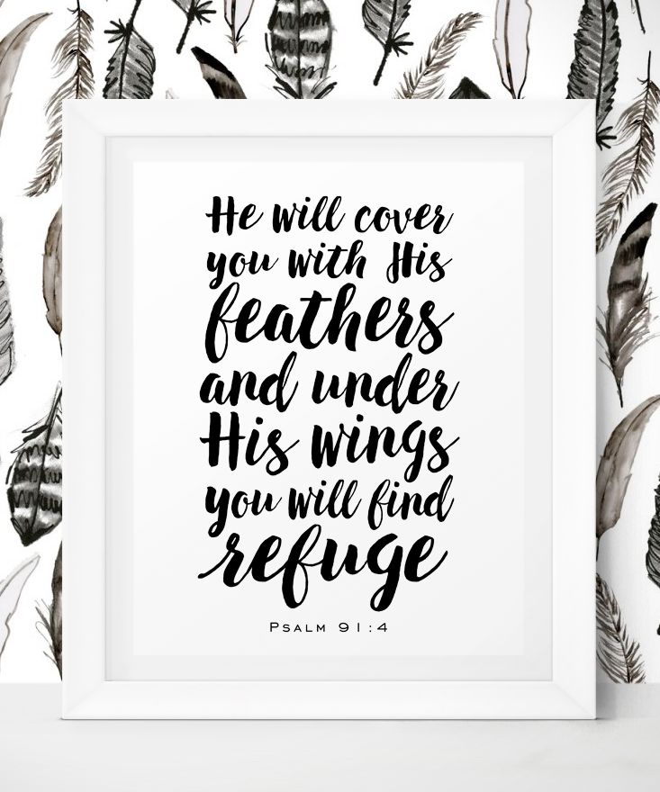 He will cover you with His feathers, and under His wings you will find refuge. Psalm 91 4 - Printable Art by Little Wants.