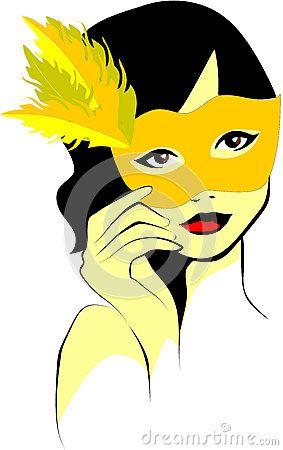 Vector illustration of a curly-haired woman who takes the yellow feathered mask in hand.
