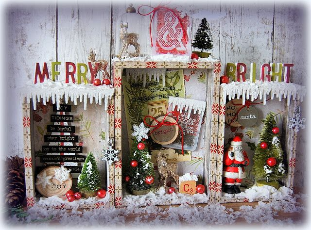 Kath's Blog......diary of the everyday life of a crafter: Tim Holtz Holiday Inspiration Series - Merry & Bright Vignette Boxes