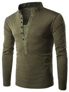 Long Sleeve Grandad Collar Button T Shirt - Army Green - L