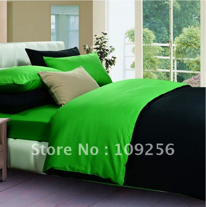 Free ship 100 sateen cotton green black color luxury for Luxury cotton comforter sets