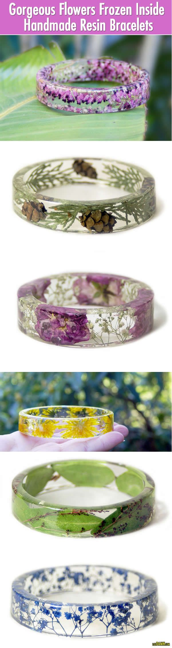 Gorgeous Flowers Frozen Inside Handmade Resin Bracelets. |LOL, Damn! Funny and Awesome pictures.
