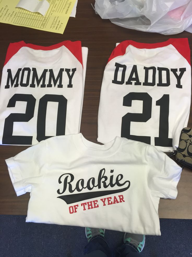 Family birthday shirts for baby's first birthday. Baseball