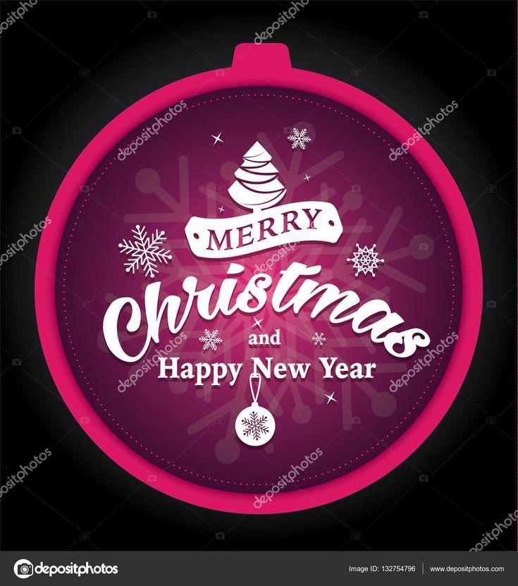 Веселого Рождества и счастливого нового года Поздравительная открытка с Рождественский бал пользовательской формы. Фиолетовый фон, снежинки. Нажмите Готово — стоковая иллюстрация #132754796