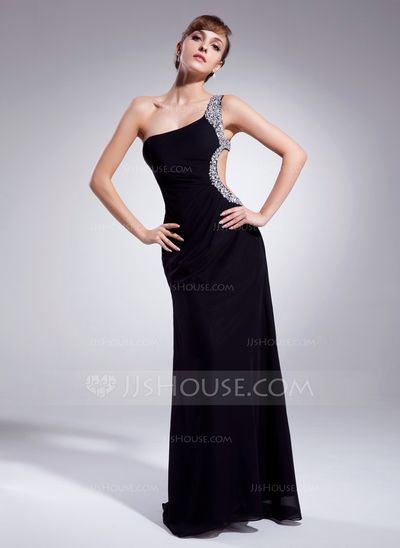 Prom Dresses - $142.99 - Sheath One-Shoulder Sweep Train Chiffon Prom Dress With Ruffle Beading (018004918) http://jjshouse.com/Sheath-One-Shoulder-Sweep-Train-Chiffon-Prom-Dress-With-Ruffle-Beading-018004918-g4918?ver=xdegc7h0