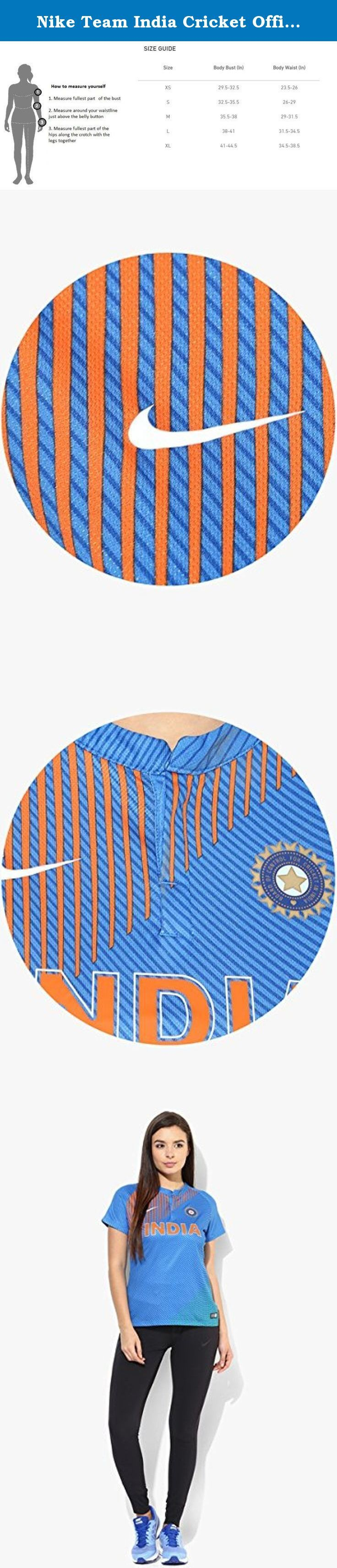 Nike Team India Cricket Official Premium Jersey New 2016-17 (Jersey for women, Large). The Official T20 India Cricket Replica Jersey for women is made with Dri-FIT fabric for breathable comfort and enhanced moisture management.