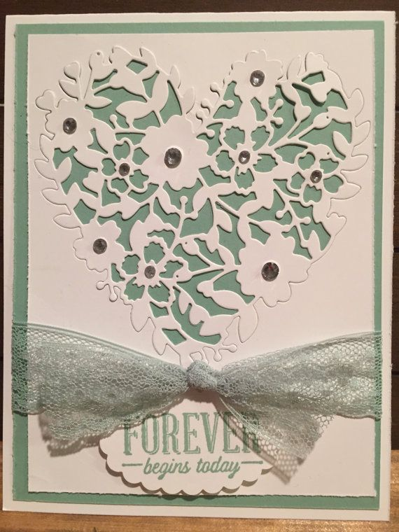 Stampin Up Bloomin' Love Bloomin' Heart Thinlits Die Suite Sayings 2016 Occasions Catalog Dotted Lace Ribbon Mint Macaron Rhinestones