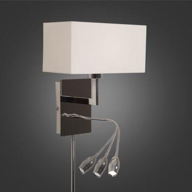 Emballage de 2 appliques murales avec abat-jour blanc - Lampe de lecture articulée au DEL intégré - Branchement direct ou à une prise (comprend 2 tubes cache-fil)