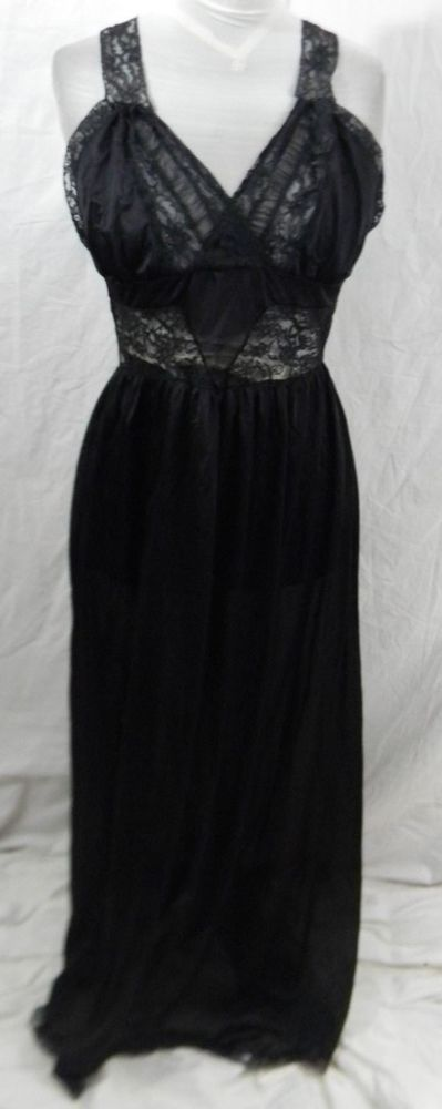 Vintage Snowdon Womens Nightgown 36 Nylon Black Lace Insets Trim Hem Strap Long  #Snowdon