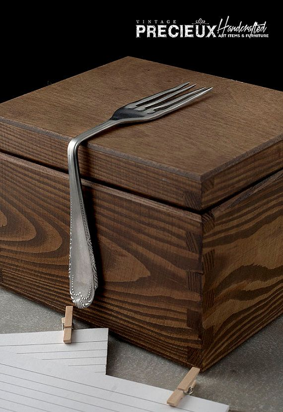 Vintage Wooden Recipe Box with Fork HandleArt by vintagePRECIEUX