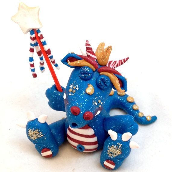 Polymer Clay Dragon 'Boomer' - Independence Day Limited Edition Collectible by KatersAcres