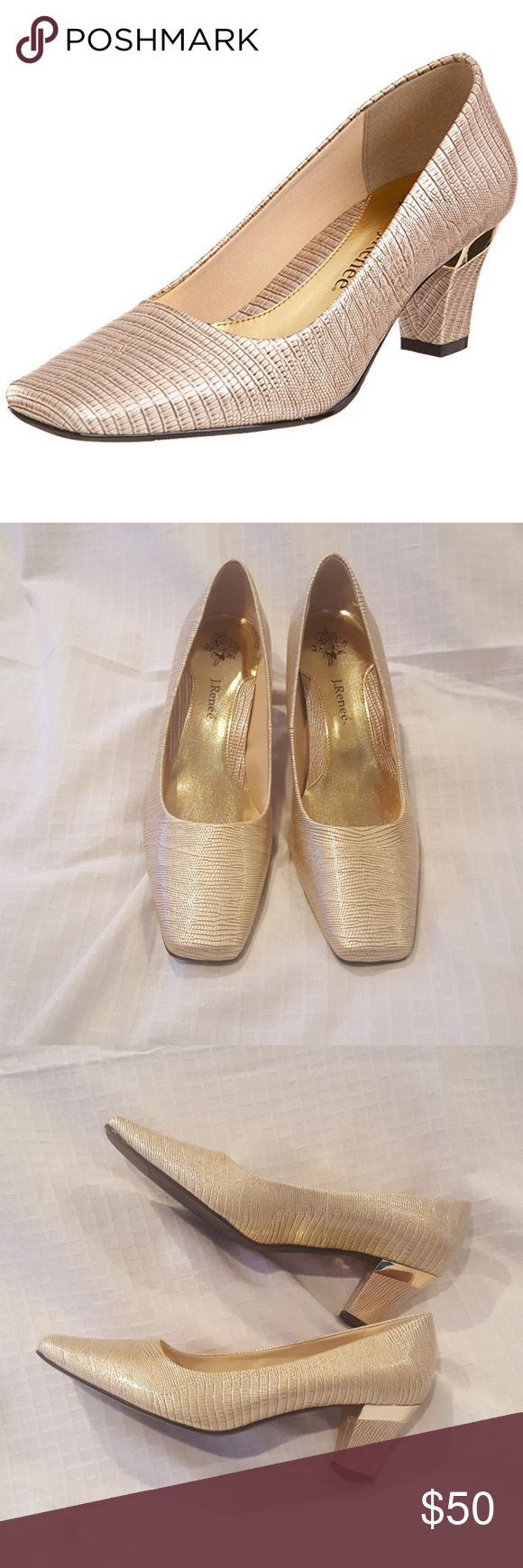 J. Renee - Mary Luminous lizard print taupe shoe with a stacked heel with gold accents.  Square toe with 2.5 inch heel. Brand new never worn. J. Renee Shoes Heels