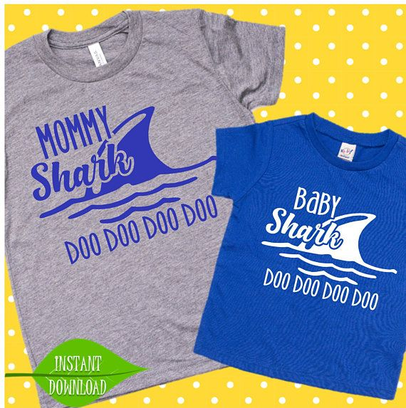 d93913bd9ba9b Daddy Shark Mommy and Baby Shark svg Father and son gift | Father's ...