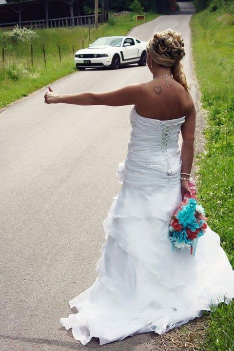 Wedding Photo Idea w/ Mustang found on Facebook Mustang page/group - thank you to the couple who posted!!