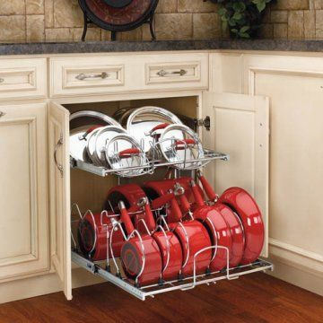 Great pot organizer allowing easy access to back of cabinet