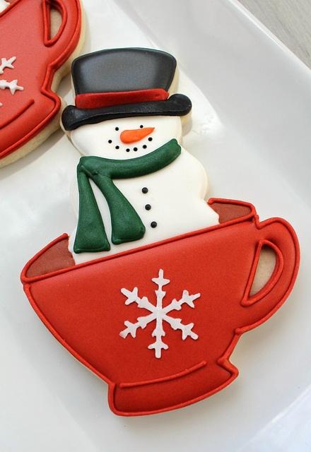 Snowman Teacup Cookie by SweetSugarBelle, via Flickr