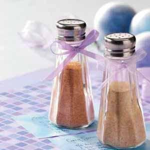Zesty Salt Substitute: 5 tsp onion powder, 3 tsp garlic powder, 3 tsp ground mustard, 3 tsp paprika, 1/2 tsp celery seed, 1/2 tsp white pepper. Yield 1/4 cup. Keeps 6 months. Use on vegetables & meat. gm