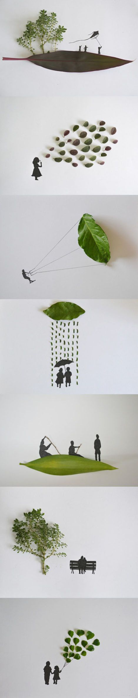 This is one of my favourite piece of artwork. Children can create a lot of different pictures with a piece of leaf.it helps expand their imagination.