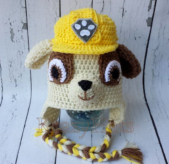 Crochet dog hat. Paw Patrol hat.Rubble hat. by KrazyHats1 on Etsy