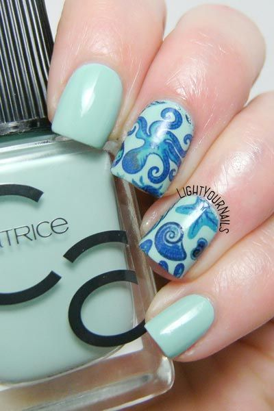 Nautical nail art feat. Catrice Mint Map and Bornpretty BYP34 water decals @catriceofficial @bornprettystore
