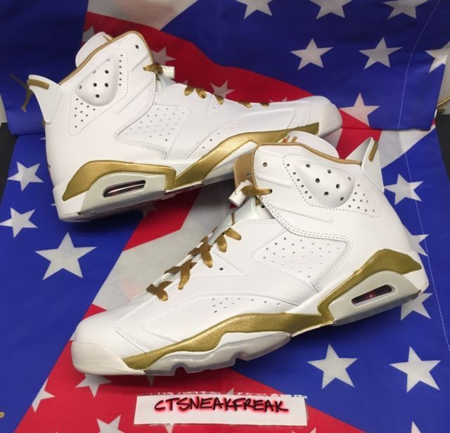 b122dab8d9bd Nike Air Jordan 6 Retro Golden Moment Size 12 White Gold Olympic GMP  384664-135