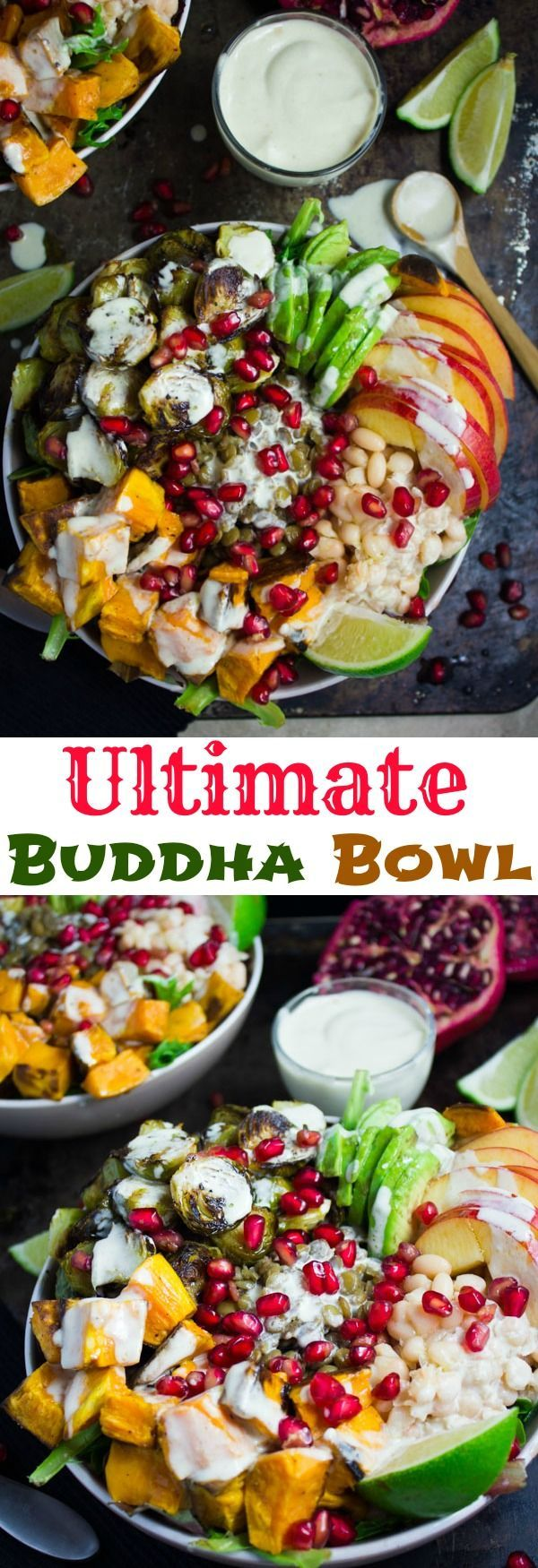 Lentil Fall Harvest Buddha Bowl. This easy, crazy delicious Buddha goodness bowl is all you need to make your life happier! Loaded with greens, lentils, navy beans, apples, avocado, sweet potatoes, sprouts, pomegranate arils--all drizzled with the perfect tahini sauce! Get this recipe and tips for Buddha bowl perfection. http://www.twopurplefigs.com