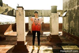 CAMISA PRISMA / VERSIÓN ORANGE - estampa exclusiva costura lateral  via makeagif