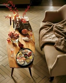 romantic dinner for two  including seafood starter and pots de creme finish (Coffee) Table for Two | Martha Stewart