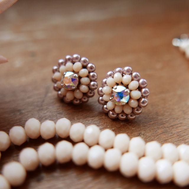 Rose Soleil Jewelry Antique Autumn Collection | ローズソレイユジュエリー ✧ グラスクリスタルパールイアリング ✧ アンティークオータムコレクション