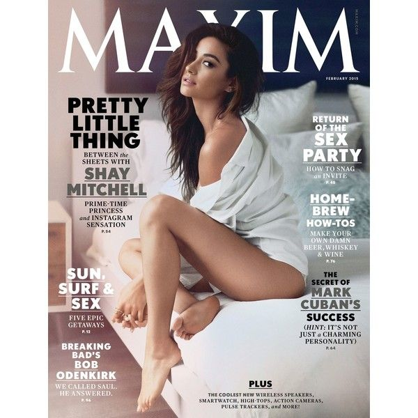 Shay Mitchell Strips Down for Maxim Cover Shoot ❤ liked on Polyvore featuring magazine, magazine cover, models and shay mitchell