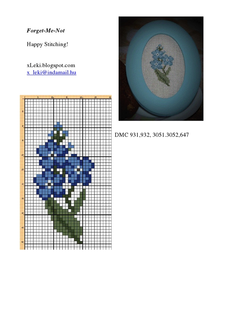 Forget-me-notes miniature needlework chart