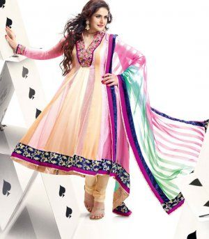 Adorable Cream And Pink Faux Chiffon Designer Churidar Kameez. Sale : $107.00
