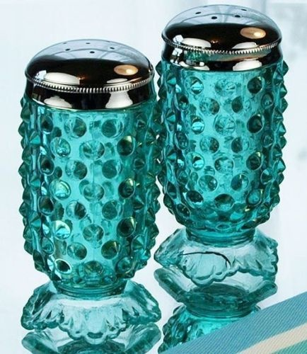 Fenton Art Glass Blue Footed Hobnail Salt Pepper Shakers
