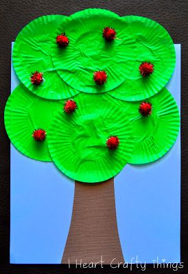 "Cupcake Liner Apple Tree Craft. You could also use white liners, ""dyed"" with food coloring to create a fall tree."