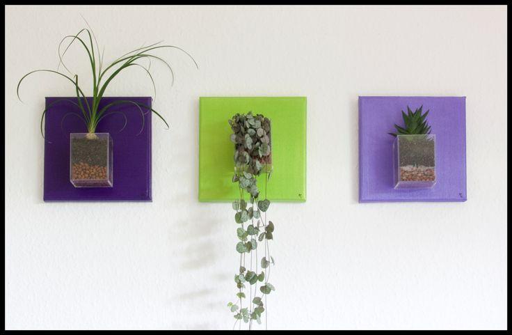 Triptyque violet et vert irisé
