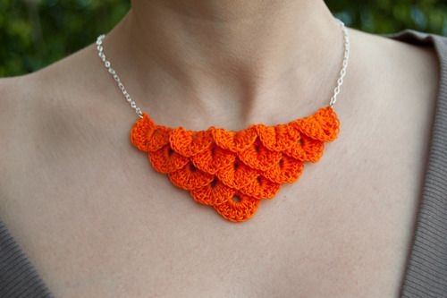 """Tangerine orange petal necklace! I really LOVE this color. I'm not normally a """"loud"""" person fashion wise, but I just really really love this. Its so bright and happy and in-your-face pretty.  This is done with the super thin yarn. Definitely an improvement in my opinion. Now available in the shop. <3  What do you think?"""