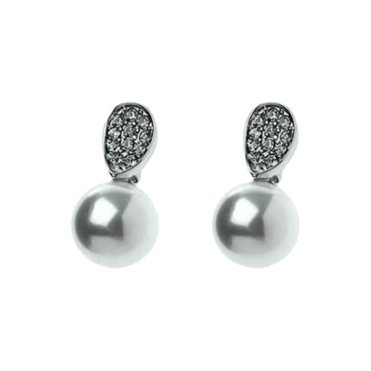 Jeminee Jewellery London Nikki Silver pave crystal and pearl drop #earrings | Subtle and chic these stunning Pearl and crystal earrings will add a touch of glamour to your outfit | #OOTD #Fashion #Style | #Ad