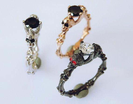 Skull Engagement Ring Gothic Ring Dainty Skull by Pmdatelier