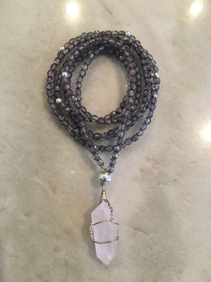 Rose Quartz Crystal Necklace by TasselsofSilkDesigns on Etsy https://www.etsy.com/ca/listing/497963356/rose-quartz-necklace
