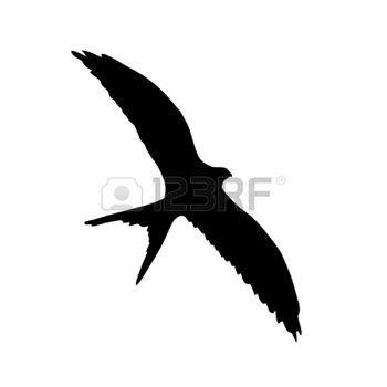 Illusztráció stílusú fekete sziluettje repülő fecske photo