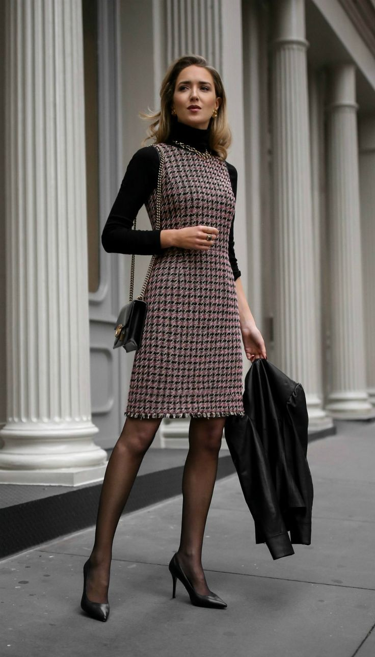 Client Meeting // Tweed fit-and-flare houndstooth dress, black layering turtleneck, black leather victorian peplum jacket, sheer tights, classic black pumps and a black leather crossbody bag {Brooks Brothers, Manolo Blahnik, Gucci, fall fashion, wear to work, office style, what to wear to a client meeting, what to wear to work, professional style, fashion blogger}