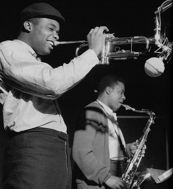 Freddie Hubbard and Wayne Shorter during Shorter's Speak No Evil session, Englewood Cliffs NJ, December 24 1964 (photo by Francis Wolff)